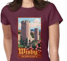 Visby Vintage Travel Poster Restored Womens Fitted T-Shirt