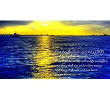 Picture with Bible Verse - Isaiah 40:31 , sunset Seascape Labrador Photographic Print