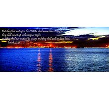 Picture w bible verse - Isaiah 40:31 - Seascape Labrador Photographic Print