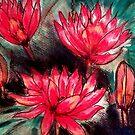 Pink Water Lillies by Angela Gannicott