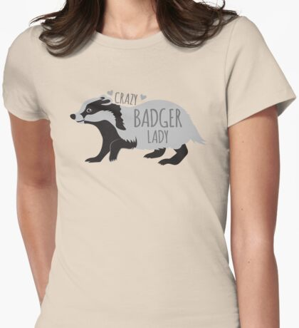 Crazy Badger Lady Womens Fitted T-Shirt
