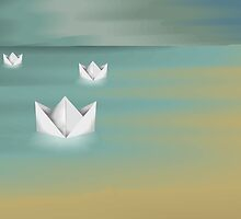 Digital painting of paper boat by tillydesign