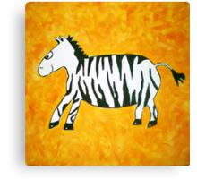 Black and White Striped Handpainted Zebra on Orange Yellow Background Canvas Print