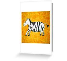 Black and White Striped Handpainted Zebra on Orange Yellow Background Greeting Card