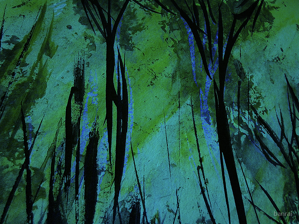 charred forest... new growth, green light filtering through by banrai