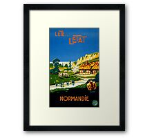 France Normandy Vintage Travel Poster Restored Framed Print