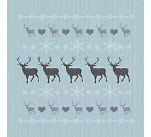 Nordic Reindeer Christmas Pattern ice blue Photographic Print
