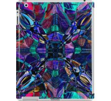 blue stained glass fractal pattern iPad Case/Skin