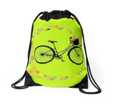 Vintage Cycling Pretty Retro Ladies Bike Flowers Drawstring Bag