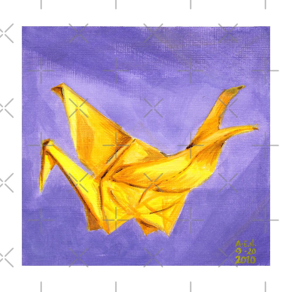 Yellow Paper Crane by Amy-Elyse Neer