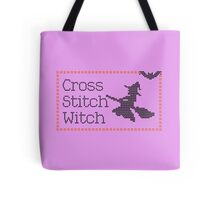 Funny Flying Broomstick Cross Stitch Witch Tote Bag