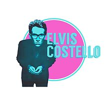 Pink And Blue Elvis Costello by SailorMeg