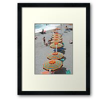 Orange Umbrellas Cinque Terre Framed Print