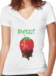 strawberry tshirt Women's Fitted V-Neck T-Shirt