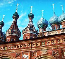 Church Of The Resurrection Domes - Kostroma, Russia. by Alison Lekarev