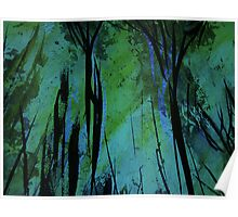 upward view... tree top twilight over charred forest..... Poster