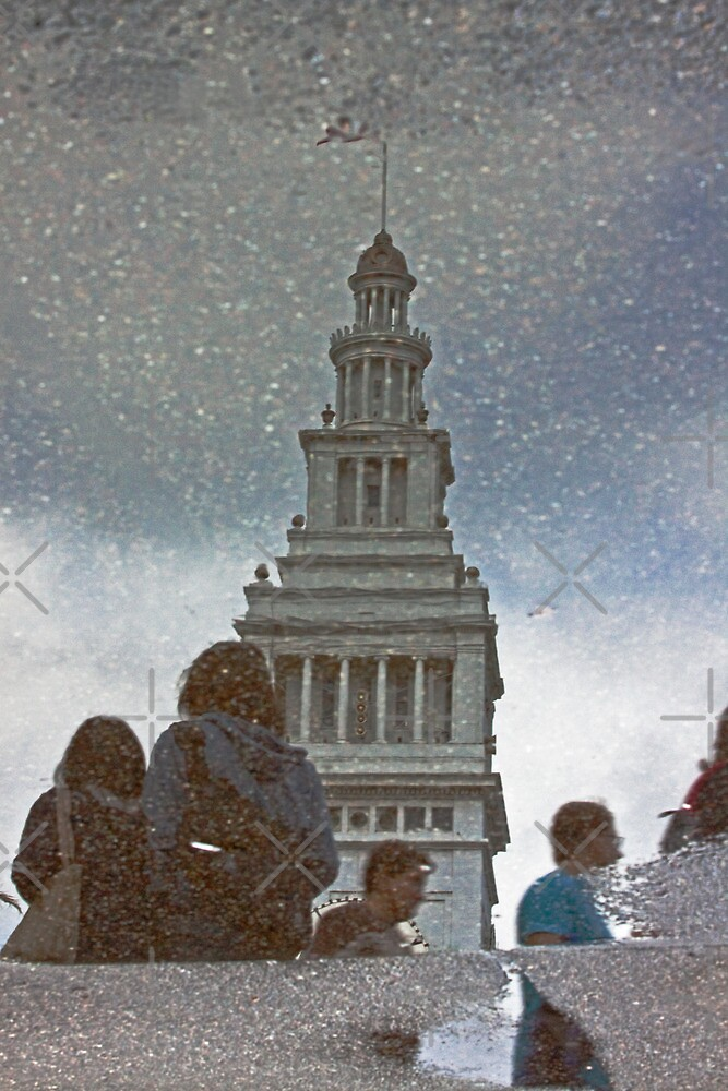 San Francisco Ferry Building Reflection in a Puddle by Buckwhite