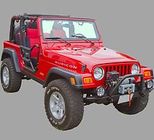 Red Jeep Wrangler Rubicon 4x4 by KWJphotoart