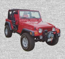 Red Jeep Wrangler Rubicon 4x4 One Piece - Short Sleeve