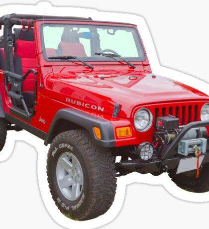 Red Jeep Wrangler Rubicon 4x4 Sticker