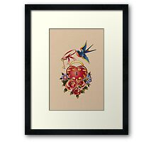 Old school True Love Lock and Key tattoo Framed Print