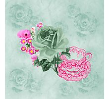 Green & pink Vintage Teacup & Flowers Photographic Print