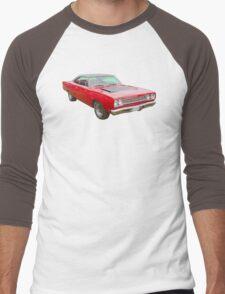 Red 1968 Plymouth Roadrunner Muscle Car Men's Baseball ¾ T-Shirt