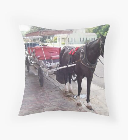 Natchez Carriage Rides - Natchez, Mississippi Throw Pillow
