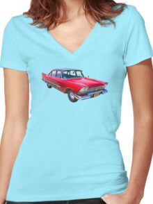 1958 Plymouth Savoy Classic Car Women's Fitted V-Neck T-Shirt
