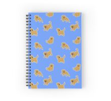 Golden Retriever Puppy Pattern - Blue Spiral Notebook