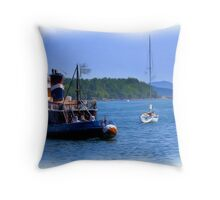 Little Tugboat  - Digital Oil Painting Throw Pillow