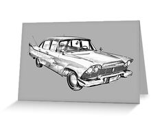 1958 Plymouth Savoy Classic Car Illustration Greeting Card