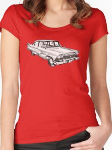 1958 Plymouth Savoy Classic Car Illustration Women's Fitted Scoop T-Shirt