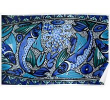 Deep Blue and Aqua Mediterranean Ceramic Fish and Octopus Painting Poster