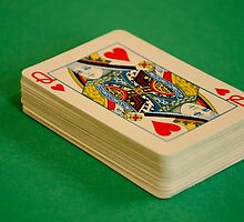 Queen of Hearts Deck of Playing Cards on Green Baize Poker Table by HotHibiscus