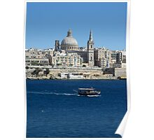 Valletta Waterfront Colourful Luzzu Fishing Boat Malta Poster