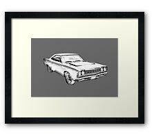 1970 Dodge Charger R/t Muscle Car Illustration Framed Print