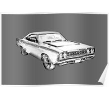 1970 Dodge Charger R/t Muscle Car Illustration Poster