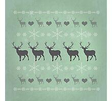 Nordic Reindeer Christmas Pattern Green Photographic Print