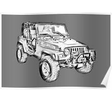 Jeep Wrangler Rubicon Illustration Poster