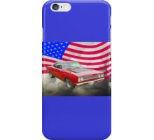 Red 1968 Plymouth Roadrunner and US Flag iPhone Case/Skin
