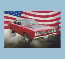 Red 1968 Plymouth Roadrunner and US Flag Kids Clothes