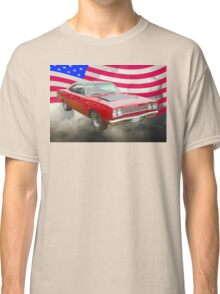 Red 1968 Plymouth Roadrunner and US Flag Classic T-Shirt