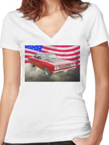 Red 1968 Plymouth Roadrunner and US Flag Women's Fitted V-Neck T-Shirt