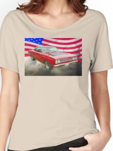 Red 1968 Plymouth Roadrunner and US Flag Women's Relaxed Fit T-Shirt