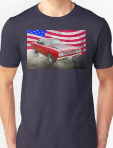 Red 1968 Plymouth Roadrunner and US Flag T-Shirt