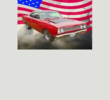 Red 1968 Plymouth Roadrunner and US Flag Unisex T-Shirt