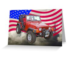 Red Jeep Wrangler Rubicon with American Flag Greeting Card
