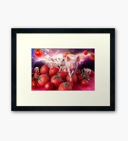Pigs invasion in tomato Universe Framed Print