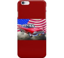 1958 Plymouth Savoy Car With American Flag iPhone Case/Skin